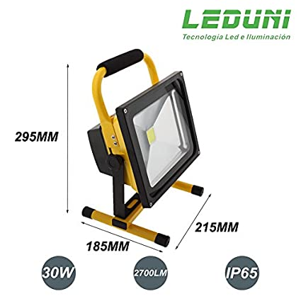 LEDUNI ® Foco Proyector LED 30W Portátil Exterior Para Construccion Camping Con Enchufe Coche IP65 Impermeable Luz Blanca Fría 6000K Angulo 120