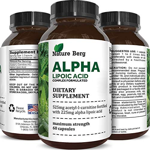 Potent Alpha Lipoic Acid Weight Loss Pills Powerful Antioxidant Amino Acids Lose Belly Fat Natural Supplement for Building Muscle Boosts Creatine Uptake in Muscles 60 Capsules by Nature Berg