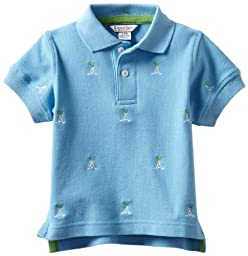 Kitestrings Baby Boys Golf Motif Embroidered Pique Polo, Blue, 6-9 Months