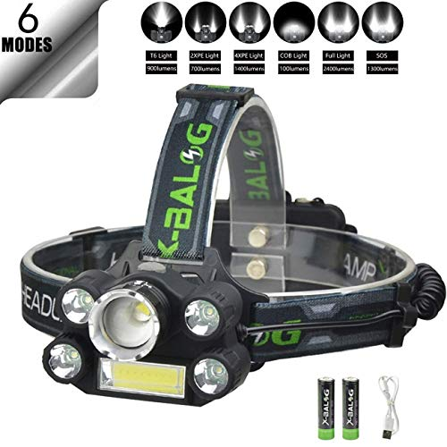 Rechargeable Headlamp Flashlight 6000 Lumen Brightest CREE LED USB Head Lamp, 6 Modes IPX3 Waterproof Zoomable Work Headlight Best Headlamps for Camping Hiking Outdoors Hard Hat