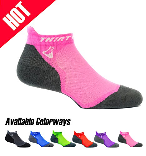 (Thirty 48 Ultralight Athletic Running Socks for Men and Women with Seamless Toe, Moisture Wicking, Cushion Padding (Large - Women 9-10.5 // Men 10-11.5, [1 Pair] Pink/Gray))