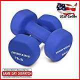 FITNESS MANIAC Home Gym Weightlifting Strength Training Body Exercie Heavy Weight Neoprene Dumbbells Non-Slip Weights Set 12LB Fitness Muscle Tone Bodybuilding Workout SOLD AS PAIR