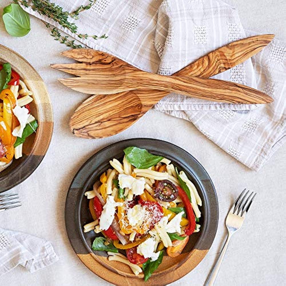 Olive Wooden Tuscan Design Salad Servers Set