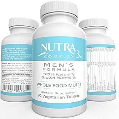 Wholefood Multivitamin for MEN Naturally Grown Veggie Tablets Gluten Free GMO Free Whole Food Multivitamin 90 Veggie Tablets 1 month Supply