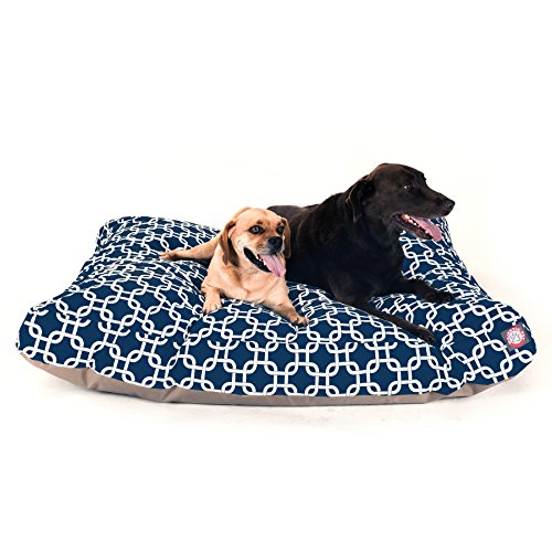 Navy Blue Links Extra Large Rectangle Indoor Outdoor Pet Dog