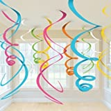 Party Propz 12 Pcs Swirls Hanging Decoration For birthday decoration, party supplies,birthday decoration for girls
