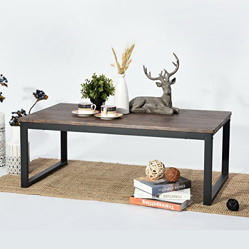 Aingoo Rustic Wooden Coffee Table with Metal Frame, Dark Brown