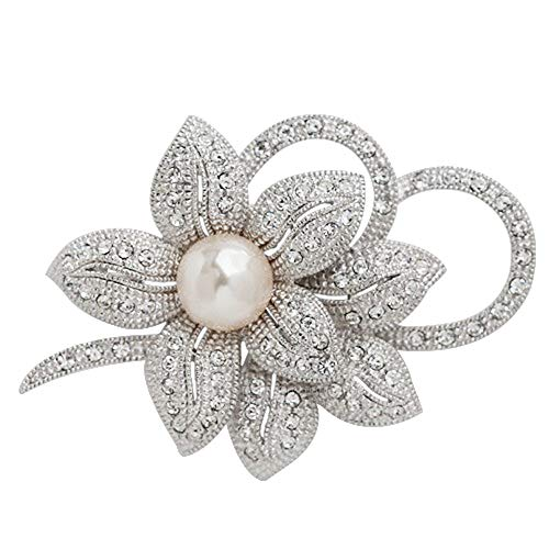 Refaxi Faux Pearl Rhinestone Crystal Vintage Flower Brooch Pin Brooches Boutonniere (1#Silver)