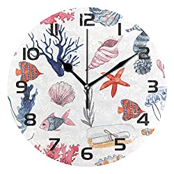 Dozili Ocean Theme Sea Beach Seashell Starfish Decorative Wooden Round Wall Clock Arabic Numerals Design Non Ticking Wall Clock Large for Bedrooms, Living Room, Bathroom