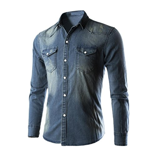 Sinzelimin Men's Shirts Standard-Fit Long-Sleeve Shirt Retro Denim Shirt Cowboy Blouse Slim Thin Long Tops (Blue, M) by Sinzelimin (Image #2)