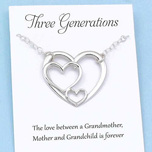 Three Generations of Love • Sterling Silver Heart Keepsake Necklace • Grandmother, Mother, Daughter / Son Jewelry • Gift for Mom Grandma Grandchild