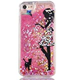 KC iPhone 6 Plus & iPhone 6s Plus Case - Fairy Angel Girl Eating Apple Logo Liquid Bling Glitter Creative Flower Printed Sparkle Stars Transparent Hard Back Cover for iPhone 6s Plus for girls - Pink