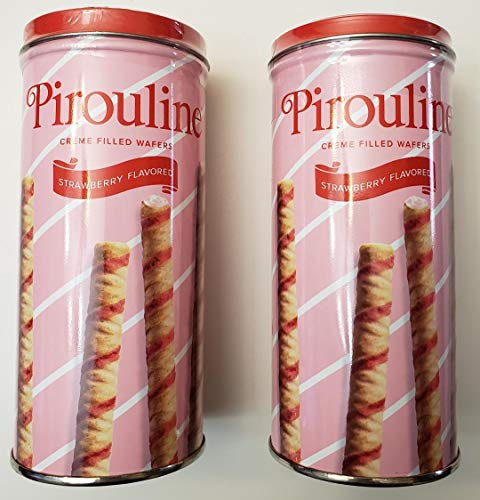 Wafer Filled Cookie - Pirouline creme filled wafers, strawberry flavored, 2 pack bundle, 3.25oz each