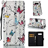 Case for Galaxy Note 8/N950,Durable Slim Pu-Leather Wallet Case with [3D Printing] Pattern & Inner TPU Bumper Card Holder with Magnetic Closure Compatible with Samsung Galaxy Note 8/N950 -Butterflies