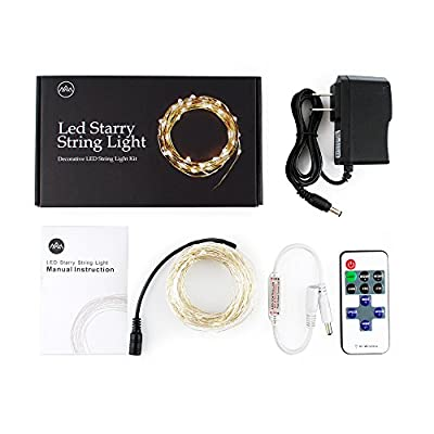 MNT Lighting LED String Copper Wire Lights, Starry String Lights, 100 LEDs, 33 ft / 10 meters, Warm White, Decorative Rope Lights For Seasonal Christmas Holiday, Wedding, Parties Décor