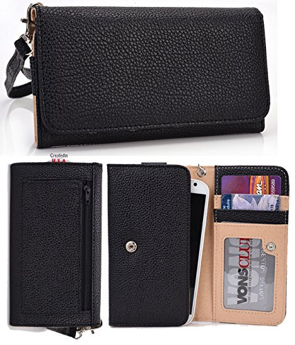 At&t Samsung Galaxy S2 S II Skyrocket Premium Wallet with Zipper Coin Outside Pocket Clutch Carrying Cover Case Pouch. Color: Black + NuVur Keychain (ESMLMTKK)