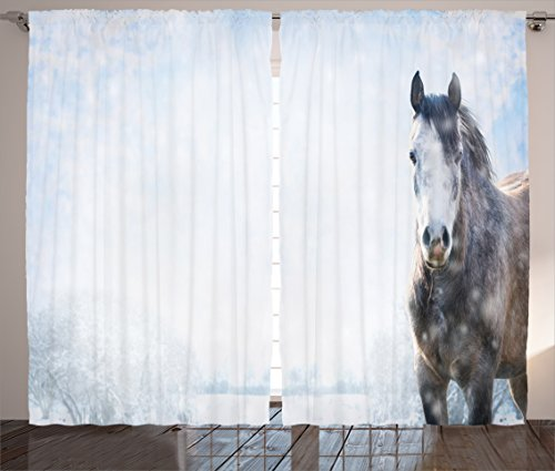 "Ambesonne Country Curtains, Grey Horse on Winter Landscape with Snowfall in Wilderness Royal Animal in Nature, Living Room Bedroom Window Drapes 2 Panel Set, 108"" X 84"", White Brown"