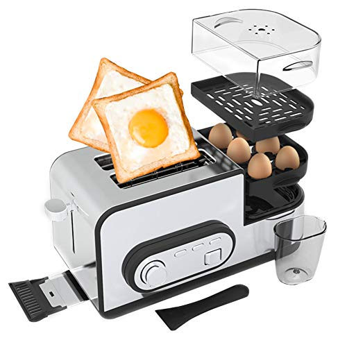 LJ-MBJ Multi-Function Breakfast Toaster, Automatic Bread Machine, Wide Slot, Drop-Down Crumb Tray, Fried Steamed Eggs, 2-Slice Toaster, Stainless Steel-A
