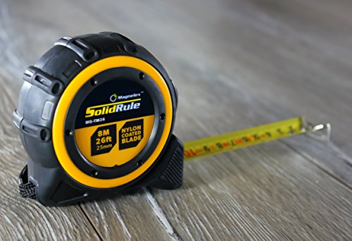Tape Measure 26-Foot (8m) by Magnelex, Inches and Metric Measuring Tape for Construction, Home Use and DIY, Smooth Sliding Nylon Coated Ruler, Strong Belt Clip, Impact Resistant Rubber Covered Case by Magnelex (Image #1)