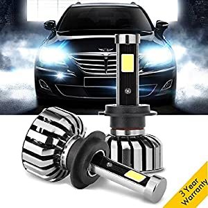 H7 LED Headlights Bulbs Conversion Kits, 8000LM 80W 6000K Super Bright Car Headlamps for Audi Mercedes Benz BMW Hyundai Jaguar Kia Land Rover Porsche Volkswagen Volvo Mazda Subaru Chrysler - 2 pcs