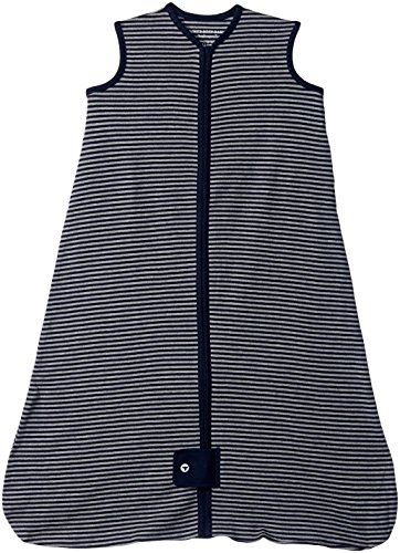 Burt's Bees Baby - Beekeeper Wearable Blanket, 100% Organic Cotton, Classic Stripe Midnight (Medium)