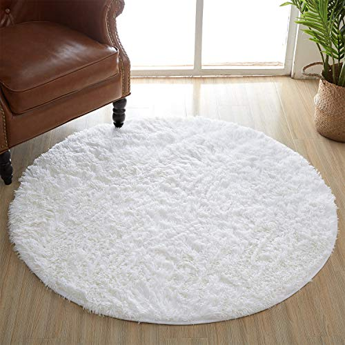 Amangel Round White Area Rugs 4 x 4 Feet, Super Soft Comfy Fuzzy Circle Fur Rugs for Women Bedroom Kids Girls Rooms Nursery Decor Small Throw Fluffy Area Rug Carpet, White (Fuzzy White Rug Fur)