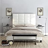 iNSPIRE Q Tower High Profile Upholstered Queen Bed Modern White Regular White Finish