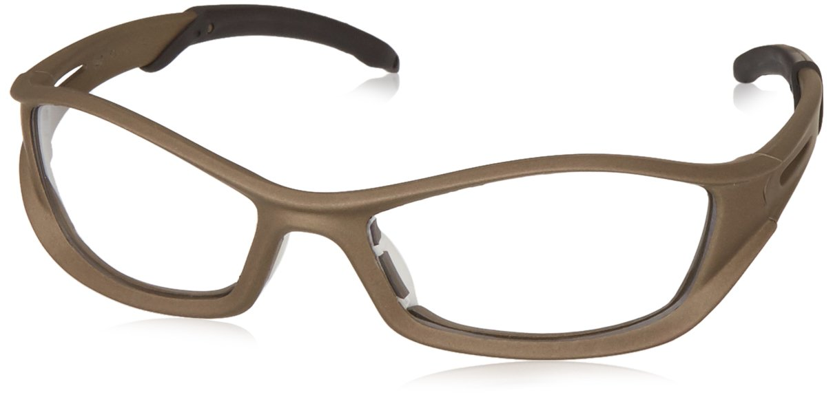 MCR Safety TB120AF Tribal Hybrid Temple Design Safety Glasses with Champagne Frame and Clear Anti-Fog Lens
