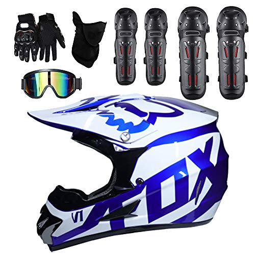 Moto Helmets Adult Outdoor Man Woman Full Face Motocross Off-Road Motorcycle Road Race ATV Helmet 5 Free Safety Suit Include Windproof Glasses Face Mask Elbow Pads Gloves Kneepad,L