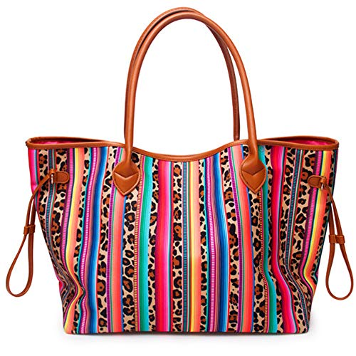 Oversized Tote Bag Red Striped Cheetah Canvas Handbag for Women with Inner Pocket Weekend Beach Tote Bags Shopping Picnic Working Dating Handbag Women Gifts