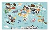 Lunarable Africa Doormat, Educational World Map Africa Camel America Lama Alligator Ocean Australia Koala, Decorative Polyester Floor Mat with Non-Skid Backing, 30 W X 18 L inches, Multicolor
