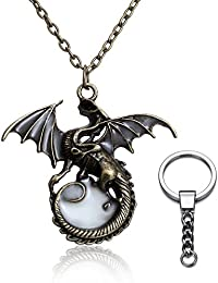 Magical Glow Dark Anti-Silver Steampunk Dragon Glowing Necklace,With silver Keychain