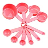 10pcs Pink Plastic Measuring Cup and Measuring Spoon Set