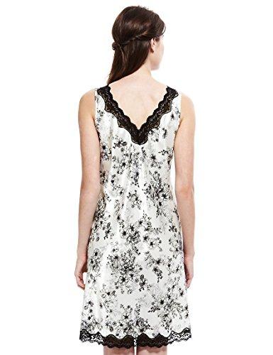 floreale da in Ladies raso camicia Make notte Famous crema nero BBqTp