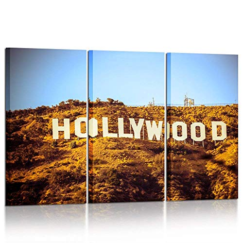 Kreative Arts Vintage 3 Piece Wall Art Painting Hollywood Sign in Mountain Prints On Canvas California USA Pictures Cityscape Poster Art Work Printing for Home Modern Decoration 16x32inchx3pcs