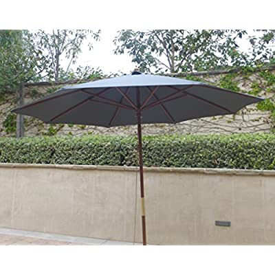 Formosa Covers 9ft Umbrella Replacement Canopy 8 Ribs in Charcoal Grey (Canopy Only) : Garden & Outdoor