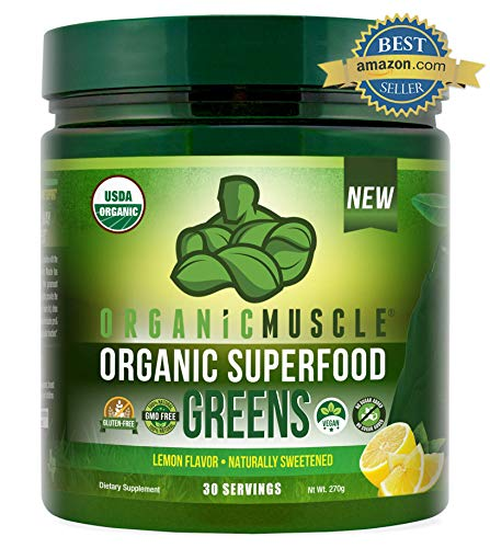Certified Organic Superfood Greens Powder | #1 Green Juice Supplement for Energy, Detox, Immune & Gut Health w/Pre & Probiotic Blend | Vegan, Keto, Non-GMO, Lemon Flavor, 30 Serv | ORGANIC MUSCLE