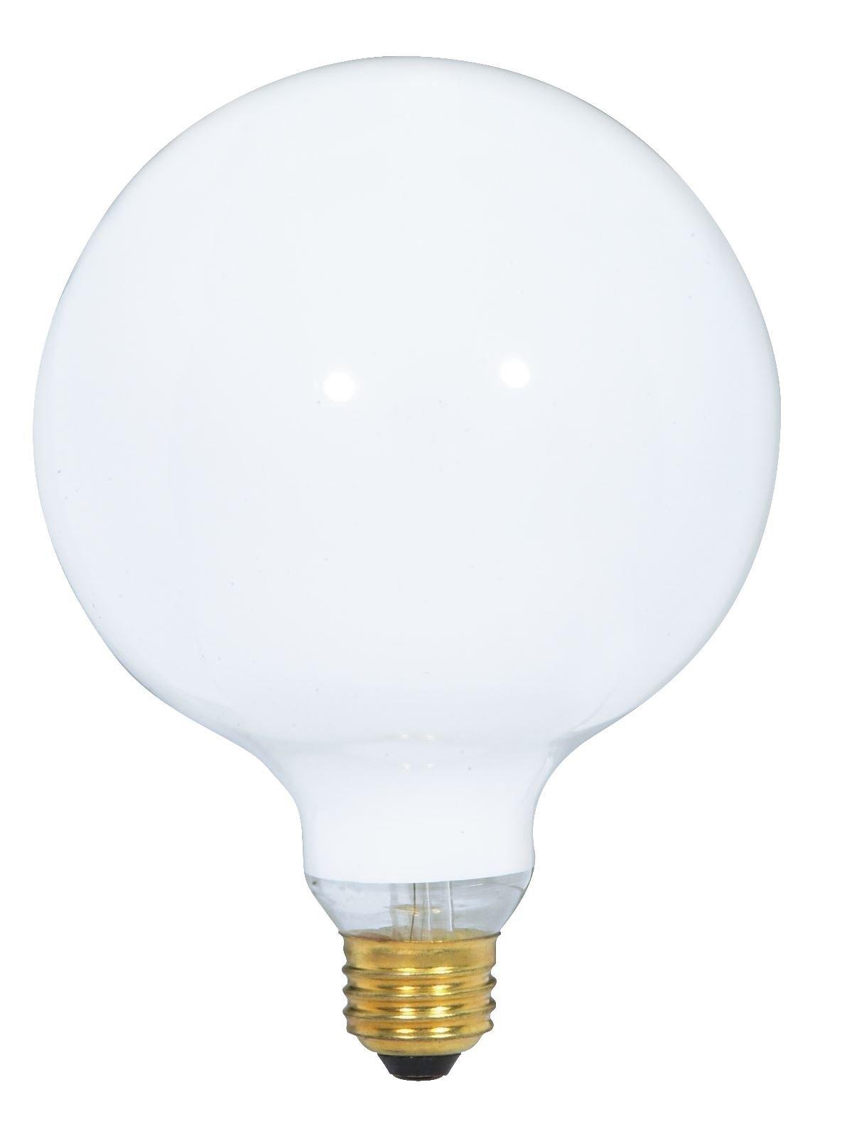 Satco 150G40/W Incandescent Globe Light, 150W E26 G40, Gloss White Bulb [Pack of 12]