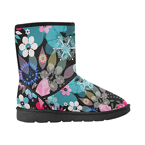 Flowers Womens Stripe Geometry 5 5 InterestPrint Bike Size Colorful Snow Rose Pattern Color3 Classic On Boots 12 Print YwYt0qHF