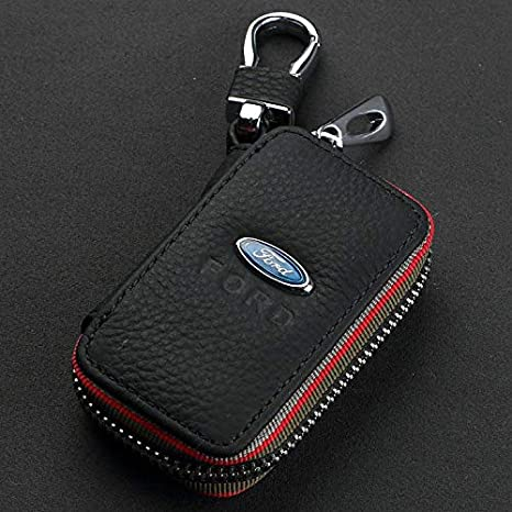 JSMAZ Car Logo Leather Car Key case Car Smart Key Chain Keychain Holder Metal Hook and Keyring Zipper Bag for Remote Key Fob for-Ford