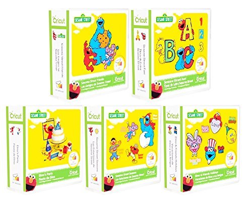 5 Cricut Sesame Street Cartridges Bundle: Elmo's Party & Font & Friends & Elmo and Friends and Sesame Street Seasons