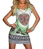 Smile YKK Womens Summer Feather Pattern Sleeveless Mini Bodycon Dress Green XXL