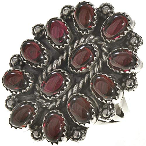 (Navajo Garnet Petit Point Ring Silver Old Pawn Cluster Design)