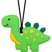 Sensory Chew Necklace for Kids and Boys - Silicone Dinosaur Chewable Necklaces for Teething, Autism, Biting, ADHD, SPD…