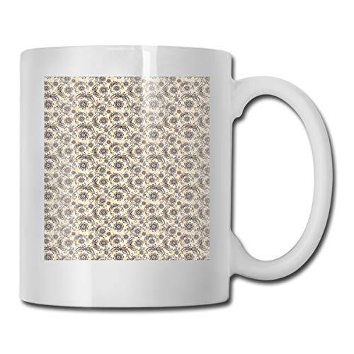 (Funny Ceramic Novelty Coffee Mug 11oz,Nature Composition With Ornamental Lines Swirls Circles Abstract Flora And Fauna,Unisex Who Tea Mugs Coffee Cups,Suitable for Office and Home)