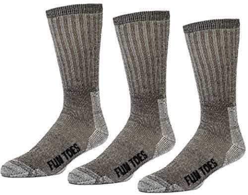 FUN TOES 3 Pairs Thermal Insulated 80% Merino Wool Socks Men's, Hiking Size 8-12 (Brown)
