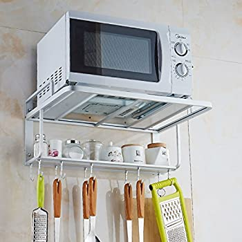 Space Aluminum Microwave Oven Wall Bracket Double Rack with Removable Hooks (L)
