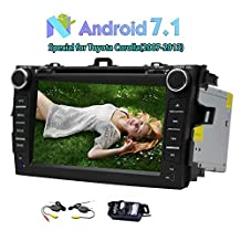 Autoradio Double 2Din Car DVD Player Head Unit Android 7.1 Car stereo 2GB+32GB Car Radio with 7-Inch Touch Scree Special for Toyota Corolla Support GPS Navi Bluetooth SWC FM/AM Radio 3G/4G WIFI Cam-In+Free Wireless Rear Camera