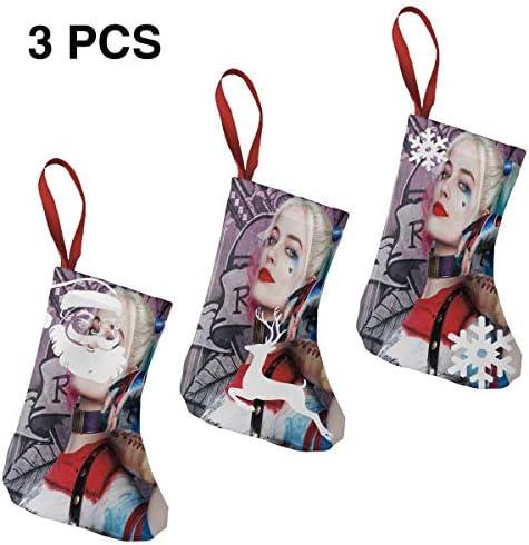 クリスマスの日の靴下 (ソックス3個)クリスマスデコレーションソックス 映画Suicide Squad クリスマス、ハロウィン 家庭用、ショッピングモール用、お祝いの雰囲気を加える 人気を高める、販売、プロモーション、年次式
