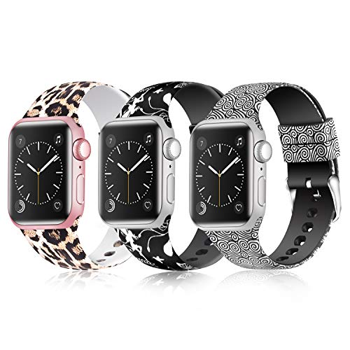 Greatfine Sport Band Compatible for Apple Watch Band 38mm 42mm 40mm 44mm,Soft Silicone Strap Replacement iWatch Bands Compatible with Apple Watch Series 4 3 2 1 (Z G-3 Pack B, 42mm/44mm) - The Band Fashion